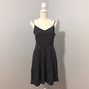 Gap Fit and Flare Navy Polka Dot Dress